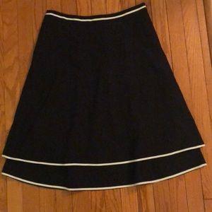 Navy blue Loft skirt with thin ribbon trim